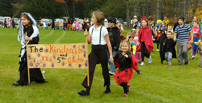 Students from the Milton Terrace North parade their Halloween costumes for parents and fellow classmates outside the school Friday afternoon in Ballston Spa. Photo Erica Miller 10/30/09 news_Halloween1_Sat