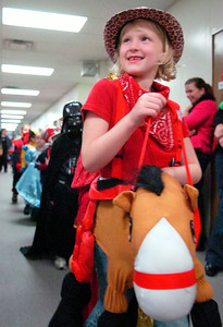 Students from Milton Terrace South, Ballston Spa, Elementary parade down their hallways in celebration of Halloween showing off their creative costumes Friday afternoon. Photo Erica Miller 10/30/09 news_Halloween6_Sat