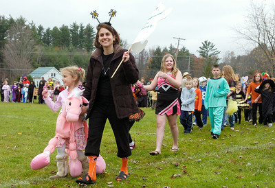 Students from the Milton Terrace North parade their Halloween costumes for parents and fellow classmates outside the school Friday afternoon in Ballston Spa. Photo Erica Miller 10/30/09 fea_Halloween1_Sat