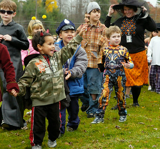 Students from the Milton Terrace North parade their Halloween costumes for parents and fellow classmates outside the school Friday afternoon in Ballston Spa. Photo Erica Miller 10/30/09 news_Halloween2_Sat