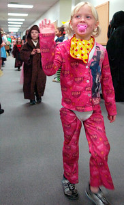 Students from Milton Terrace South, Ballston Spa, Elementary parade down their hallways in celebration of Halloween showing off their creative costumes Friday afternoon. Photo Erica Miller 10/30/09 news_Halloween5_Sat