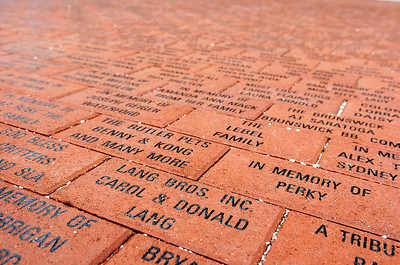 Bricks lay in the walkway dedicated to families and businesses at the entrance for the new Saratoga County Animal Shelter in Ballston Spa where Saturday marked their grand opening. Photo Erica Miller 10/30/10 bspa_AnimalShelter2