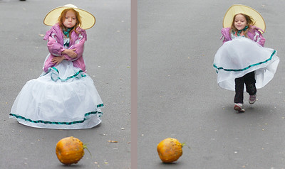 Four year old Macayla Eckerson of Saratoga Springs pouts after her pumpkin momentarily lost momentum while rolling down Caroline St. during the Saratoga Springs Fall Festival Saturday. Her expression changed to the positive after gravity helped her pumpkin on its way. Ed Burke 10/29/11