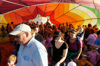 Crowds tour the inside of a hot air balloon Thursday evening at Crandall Park in Glens Falls. Ed Burke 9/24/09