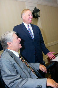 Old fraternity brothers Ken Kunken and Adirondack Trust President Chairman and CEO and main sponsor Charles Wait share a laugh. Wait has named Ken Kunken for the game's MVP award for the Allegiance Bowl. Photo Erica Miller 10/1/10 news_Kunken1_Sat