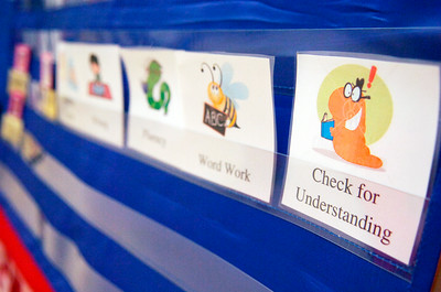 Each child is separated into different sections for the class in their Literacy Work Station at Ballard Elementary. Photo Erica Miller 10/1/10 wg_LiteracyWork5