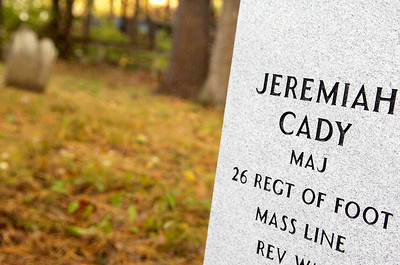 Laid by Mike Companion, a new gravestone placed for Jeremiah Cady, who deceased in 1798, at the Cady Hill Cemetery which is located near the Industrial Park. Sunday Companion will be dedicating this gravestone during a ceremony. Photo Erica Miller 9/30/10 news_Gravestone2_Sat