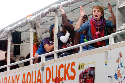 Saratoga Springs High School Seniors scream and shout from the Aqua Duck ride down Broadway for their Homecoming Parade Friday evening. Photo Erica Miller 10/1/10 new_Parade2_Sat