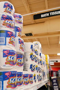 Toilet paper containers sit on the shelves for sale at Price Chopper, decorated with a pink breast cancer awareness ribbon. Portions of the proceeds will be donated to different breast cancer awareness organizations, their goal this year is 1.25 million. Photo Erica Miller 9/29/11 news_PCpink3_Sat