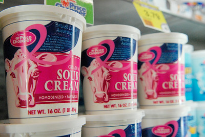 Sour cream containers sit on the shelves for sale at Price Chopper, decorated with a pink breast cancer awareness ribbon. Portions of the proceeds will be donated to different breast cancer awareness organizations, their goal this year is 1.25 million. Photo Erica Miller 9/29/11 news_PCpink1_Sat