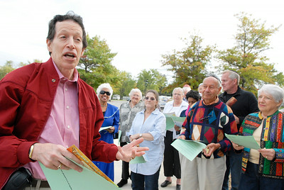 Spiritual Leader and Rabbi Dr. Kenneth Stuart Blatt makes quick introduction before they celebrate the new year at a Tashlich Service at the Saratoga Lake Boat Launch on Friday. Photo Erica Miller 9/30/11 news_JewishYear1_Sat