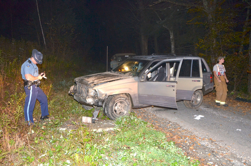 Gillian Jones/North Adams Transcript<br /> No one was injured in this one vehicle accident on Savoy Road in Florida around 9 p.m. on Friday night. The vehicle, which was traveling toward South County Road, hit a boulder near 27 Savoy Road and narrowly escaped going over an embankment into a nearby river. North Adams Ambulance, Mass State Police, Florida Fire and Rescue responded to the scene.