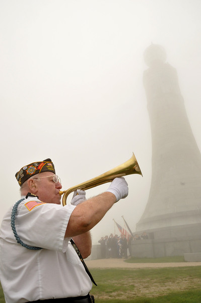 Gillian Jones/North Adams Transcript<br /> Bill Parkhurst plays the bugle during the 77th annual Adams American Legion Post 160 past commanders pilgrimage to the Mount Greylock War Memorial and ceremony at the summit of the mountain on Sunday morning.