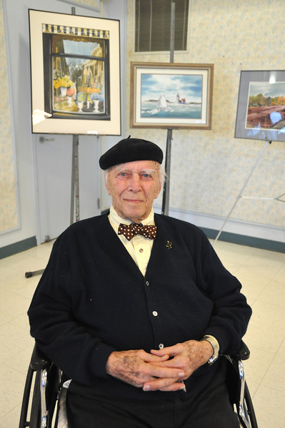 with Meghan story<br /> Gillian Jones/North Adams Transcript<br /> Foster H. Nystrom, an artist and resident of Sweetbrook in Williamstown, was given a lifetime achievement award by the facility in a ceremony on Friday.