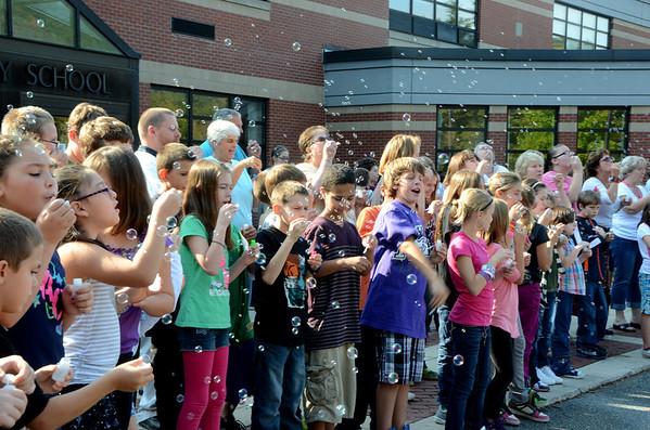 Blowing bubbles at Brayton School