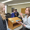 with Jen story<br /> Gillian Jones/North Adams Transcript<br /> Dr. Erika O'Mara speaks to Tegan Taylor, 14, a Hoosac Valley eighth grader about a career in veterinary medicine, Wednesday at MCLA.