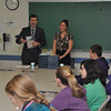 with Jen story<br /> Gillian Jones/North Adams Transcript<br /> John Krol and Bernadette Lupo speak to eighth graders about a career in marketing and public relations Wednesday at MCLA.