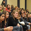 with Jen story<br /> Gillian Jones/North Adams Transcript<br /> Eighth graders from Hoosac Valley, Mount Greylock and Florida School listen to Paul Hutchinson talk about his career during a career fair at MCLA Wednesday morning.