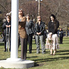 Kezia Chee/North Adams Transcript<br /> <br /> Shirley Deneault, Jean Fortier, and Linda Lagess help raise the flag to honor their father, George Coope, at Pope John the Great Paris in Adams on Sunday morning. Coope, who was both caretaker and sexton of the Notre Dame and St. Thomas Aquinas churches, passed away in 2007.