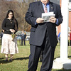 Kezia Chee/North Adams Transcript<br /> <br /> Post 160 Commander Ralph Schwarzer reads in memory of George Coope at the flagpole dedication ceremony at Pope John Paul the Great Parish in Adams Sunday morning. Coope was a longtime friend, sexton, and caretaker of both the St. Thomas Aquinas and Notre Dame churches.