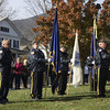 Kezia Chee/North Adams Transcript<br /> <br /> Post 160 stand in solidarity at the flagpole dedication to George Coope on the lawn of Pope John Paul the Great Paris. Coope was a longtime friend, sexton, and caretaker of the Notre Dame and St. Thomas Aquinas churches.