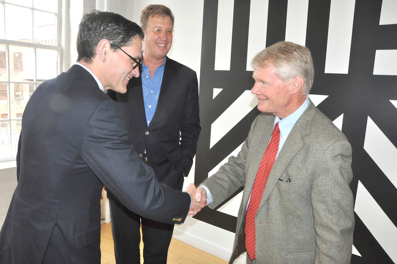 with Ryan story<br /> Gillian Jones/North Adams Transcript<br /> The Mass MoCA trustees bid adieu to one of their members Duncan Brown, and welcomed another Hans Morris, on Friday. From left, Morris, Joseph Thompson and Brown.