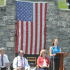 Ryan Hutton/North Adams Tanscript<br /> Hoosac Valley High School junior Ellen Rowe, right, reads the Gettysburg Address at the Cheshire Memorial Day celebration as the Board of Selectmen look on. From left is Dan Delorey, Paul Astorino and Carol Francesconi.
