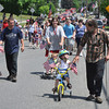 Ryan Hutton/North Adams Tanscript<br /> Childern with decorated bikes bring up the rear of the Cheshire Memorial Day parade.