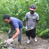 Ryan Hutton/North Adams Transcript<br /> William Cruz, 14, left, from the Bronx and Tysheam Morton, 16, of New Jersey lay rocks to rebuild a set of steps on the Mahican-Mohawk Trail in North Adams.