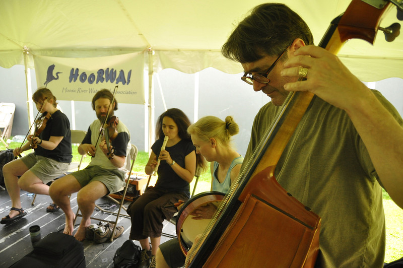 with Sue story<br /> Gillian Jones/North Adams Transcript<br /> Dale Ott, right, plays with the MoCA Jam at Riverfest in Williamstown on Saturday.