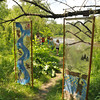 Gillian Jones/North Adams Transcript<br /> 'Riverbanks Banner' and River Lure' by Abbie Hatton hangs along side a path along the Hoosic River as part of Riverfest on Saturday.