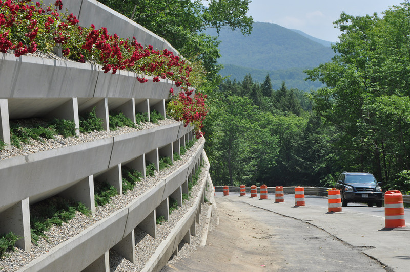 Gillian Jones/North Adams Transcript<br /> Red rose plants and bushes peek out from the brand new retaining wall on Route 2, on the Taconic Trail in Williamstown.