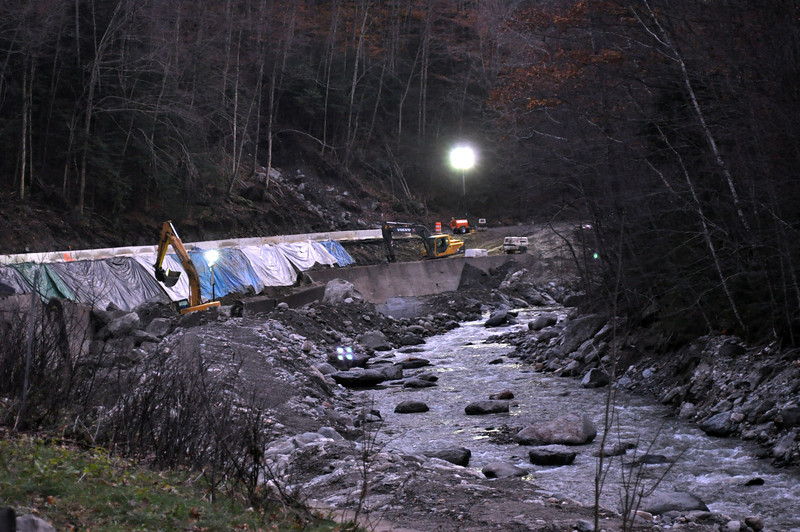 Gillian Jones/North Adams Transcript<br /> Construction on route 2, the Mohawk Trail, continues 24 hours a day, 7 days a week to meet the reopening date of December 15. The road was closed after damage caused by Tropical Storm Irene.