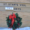 with Jen story<br /> Gillian Jones/North Adams Transcript<br /> The sign outside of St. Stanislaus Kostka Church in Adams.