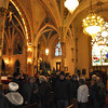 with Jen story<br /> Gillian Jones/North Adams Transcript<br /> People gather inside St. Stanislaus Kostka Church in Adams on Tuesday afternoon during a press conference after learning the Vatican had decreed that the church must stay open as a divine place of Catholic worship.