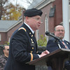 Gillian Jones/North Adams Transcript<br /> U.S. Army Lt. Col. Michael P. Hynes speaks at Veteran's Day exercises in North Adams Friday morning.