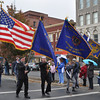 with Jen story<br /> Gillian Jones/North Adams Transcript<br /> The colorguard leads the parade up Main Street in downtown North Adams to the Veteran's Memorial in North Adams for Veteran's Day exercises on Friday.