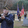 Gillian Jones/North Adams Transcript<br /> Paul Gigliotti plays taps at a small, brief ceremony for Veteran's Day at the Clarksburg Cemetery on Friday morning.