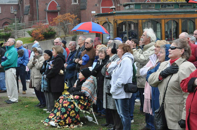 with Jen story<br /> Gillian Jones/North Adams Transcript<br /> Dozens of people gathered at the Veteran's Memorial in North Adams for Veteran's Day exercises on Friday.