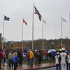 with Jen story<br /> Gillian Jones/North Adams Transcript<br /> People gather at the Veteran's Memorial in North Adams on Friday for Veteran's Day exercises including the dedication of six new flagpoles.