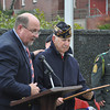 with Jen's story<br /> Gillian Jones/Noth Adams Transcript<br /> Mayor Richard Alcombright gives Joseph Cariddi a proclamation for his service to the community as he is recognized Friday at Veteran's Day exercises in North Adams.