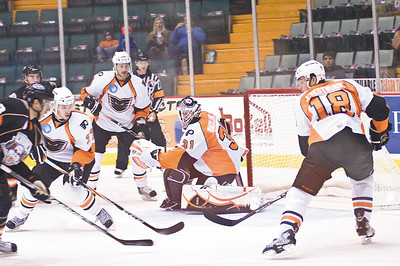 Phantoms Goalie Johan Buckland guards the goal during the game against Syracuse Crunch friday night. Photo Eric Jenks 10/15/10