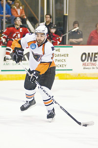 Phantoms defensman Marc-Andre Bourdon controls the puck during the game against the Albany Devils Saturday. Photo by Eric Jenks 10/16/10