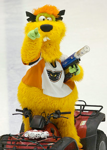 With his launcher at the ready and tee shirts as ammunition, DAX, the Adirondack Phantom's new mascot looks for a target during Wednesday's game against the Syracuse Crunch at the Glens Falls Civic Center. Ed Burke 2/16/11