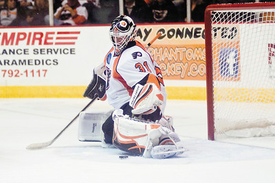Phantoms Goalie Johan Buckland blocks a puck during the game against the Albany Devils Saturday. Photo Eric Jenks 10/16/10