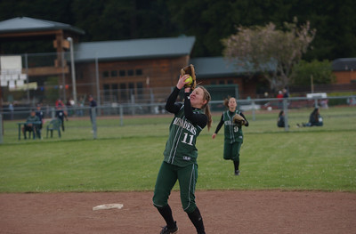 St. Bernard's Hannah Denny hauls in a pop fly during game two of Saturday's twinbill against Hoopa Valley.