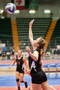 Burnt Hills-Ballston Lake's Molly McCormack returns the ball during the match against Pittsford Sutherland Sunday Afternoon NYSPHSAA Tournament at the Glens Falls Civic Center. Photo Eric Jenks 11/18/12
