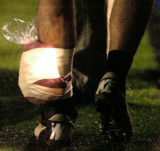 BHBL running back Dan Porter sports an ice pack on his left ankle after leaving the game in the second quarter. Ed Burke 11/3/12