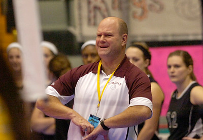 BHBL's varsity girls volleyball coach Gary Bynon grimaces during the Spartans second game against Walter Panas during state playoffs Saturday in Glens Falls. Ed Burke 11/17/12