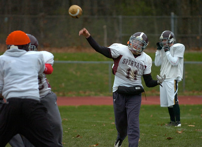 Burnt Hills-Ballston Lake quaterback Ryan McDonnell throws the ball during Thursday's practice in Burnt Hills. Ed Burke 11/8/12